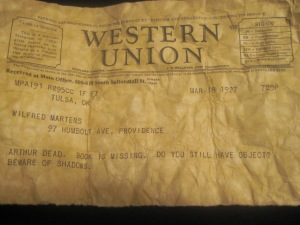Western Union telegram to my great-grandfather, 1927.