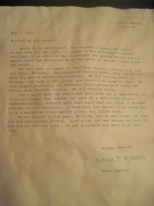 Letter from Roberts, May 1927