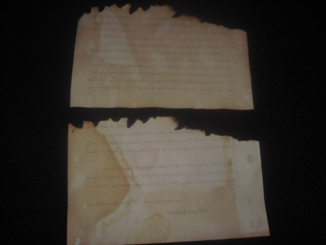 A partially burned letter from my great grandfather to my grandfather.