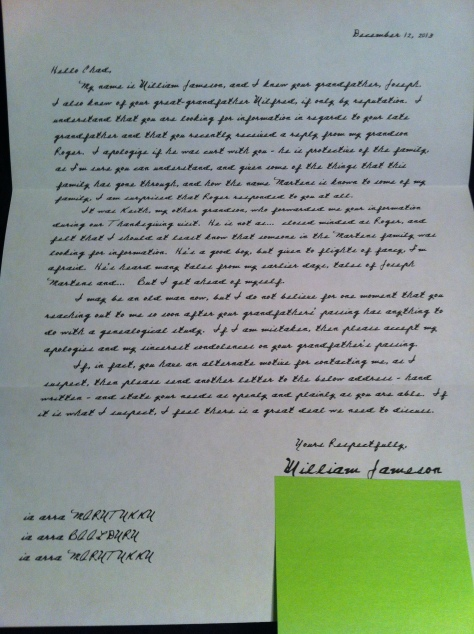 Letter from William Jameson