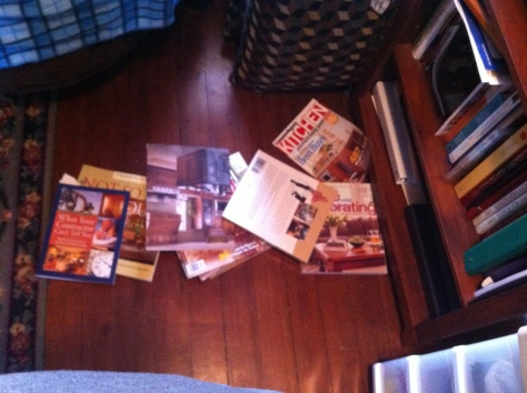 Books somehow dumped out of the bookshelf.