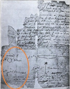 Original deed of Providence Plantations features unknown sigils originally thought to be Naragansett, but not conforming to known Naragansett iconography.
